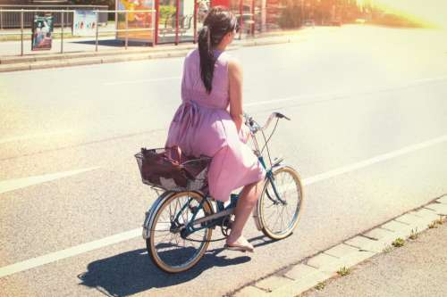 people woman dress summer bicycle