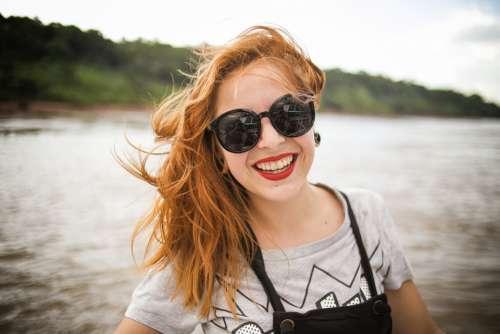 woman sunglasses smiling smile happy