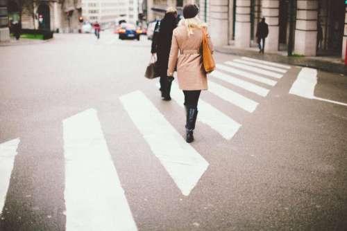 crosswalk intersection pedestrians people walking
