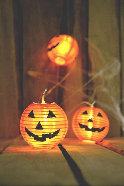 orange pumpkin halloween light night