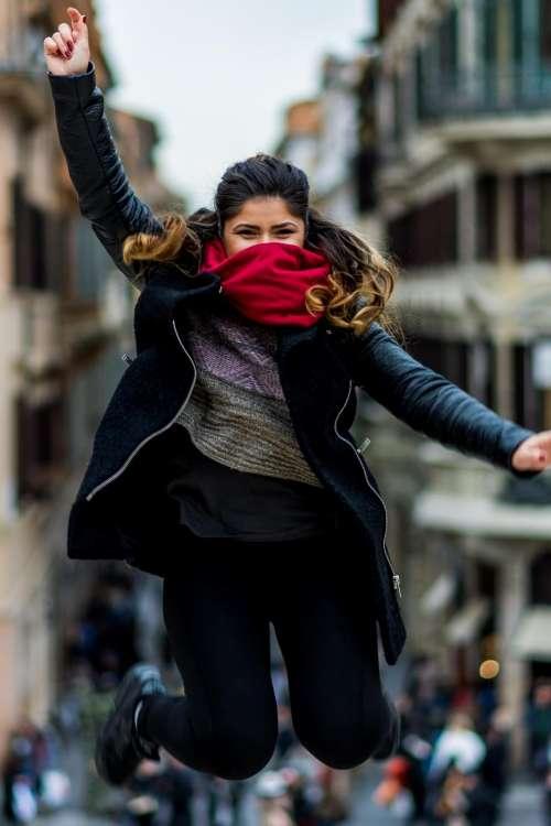 people girl woman jump mask
