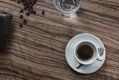 espresso coffee cup wood table