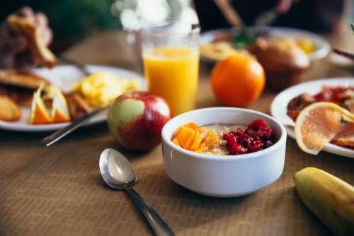 healthy breakfast buffet fruit orange