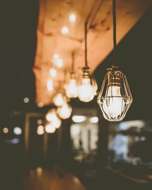 architecture interior blur lights bulb