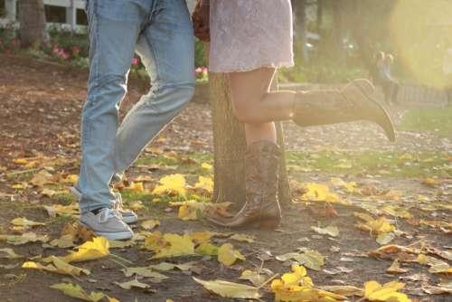 engagement autumn cowboy boots love couple