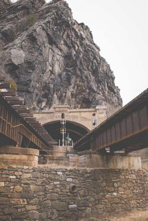 rocks stone infrastructure bridge trail