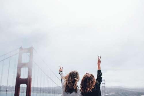 peace girls women people golden gate bridge