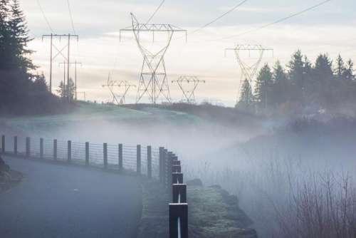nature landscape transmission line electricity