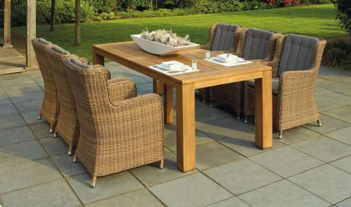 chair wooden table outside lawn