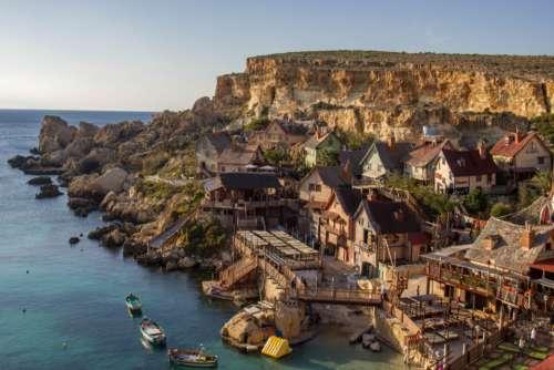 popeye village mediteranean sea Malta Cliffs rock face