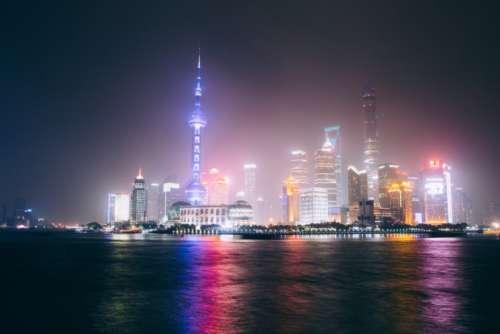 shanghai skyline night city buildings