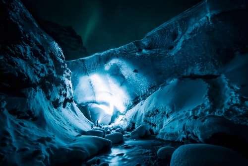 ice cave rocks snow winter