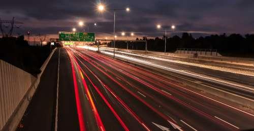 road cars long exposure highway transport