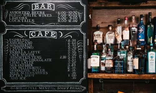 chalkboard menu alcoholic drinks beverage