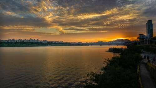sunset seoul korea orange yellow