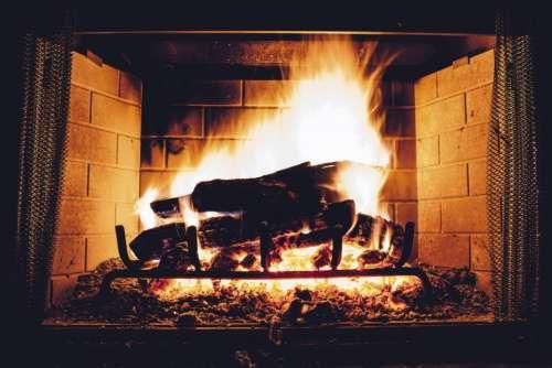 fire woods spark heat chimney