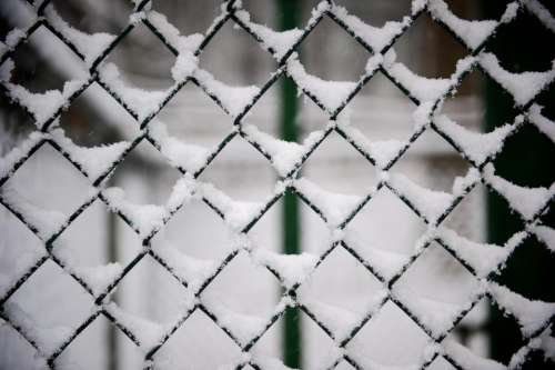 fence steel snow winter ice