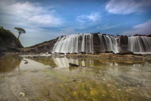 waterfalls mountain stream water nature