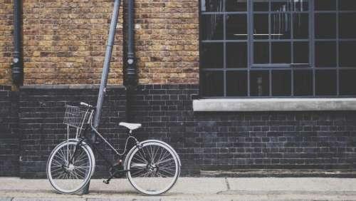 bike bicycle basket bricks wall