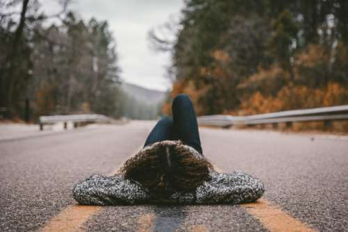 people girl alone road highway