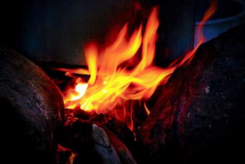 still fire camp flames burning