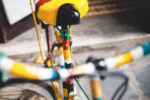 bicycle bike yellow bokeh sport
