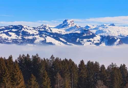 Switzerland Schwyz winter wintertime view