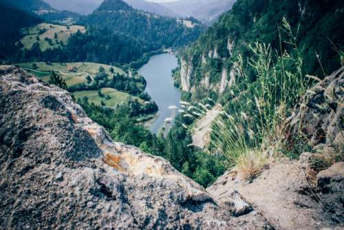 landscape mountains hills valleys fields