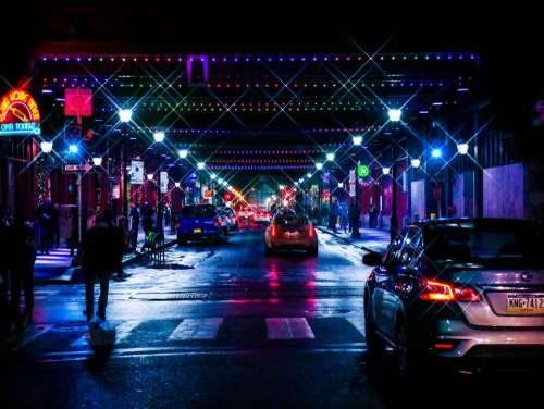 city stree night lights crosswalk