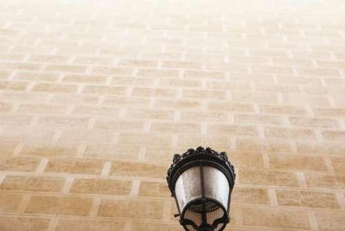 street lamp light wall bricks architecture
