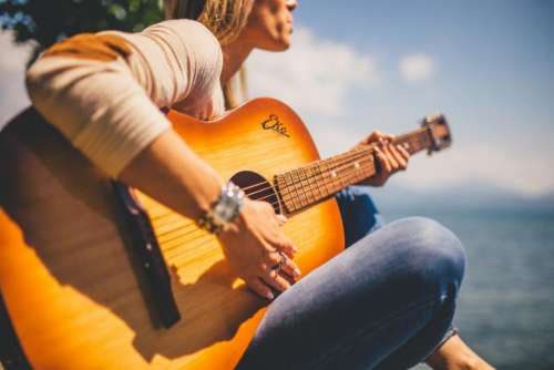 acoustic guitar musician music girl