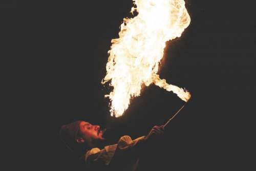 fire flames fire breather guy man