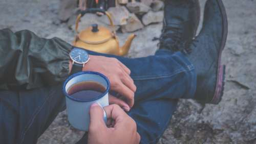 man campfire coffee cup watch