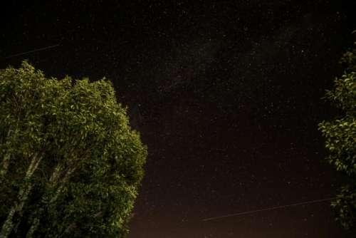 stars shooting star galaxy space night