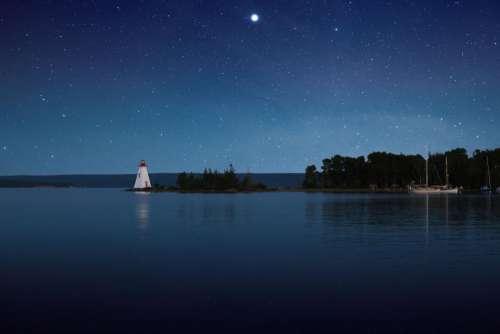 blue sky stars galaxy night