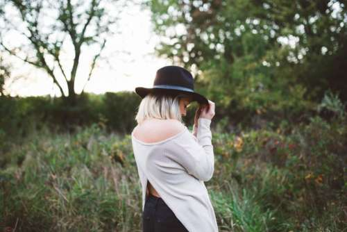 girl woman blonde hat fashion