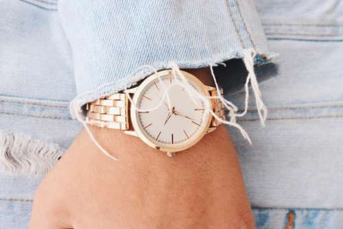 hand wrist gold watch time