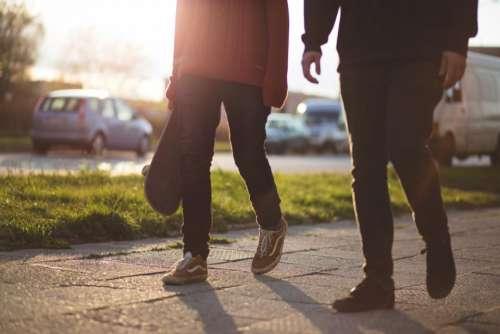 walking pedestrians path sidewalk city