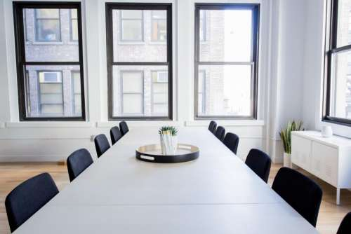 white room office table chairs