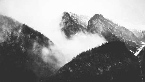 nature mountains summit peaks fog