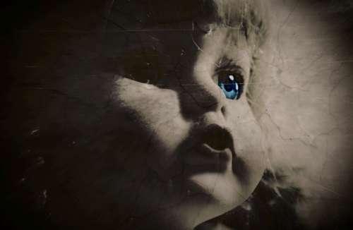 scary creepy doll face halloween