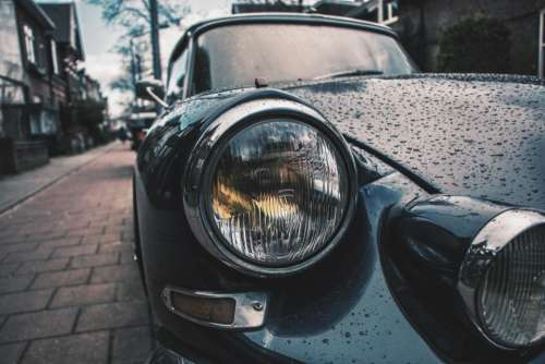 headlight rain drops wet vehicle