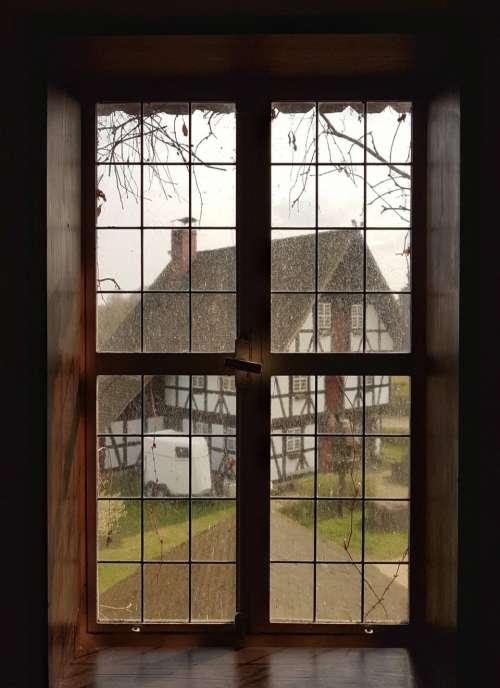 window glass frame outside house