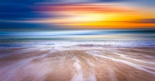 sunset sky water waves ocean
