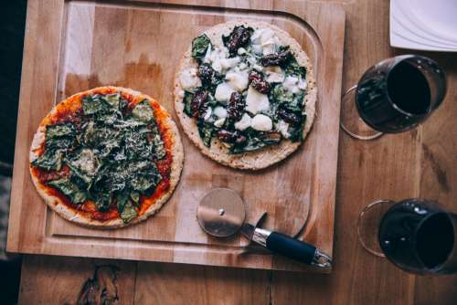 pizza wine rustic food wine glasses food
