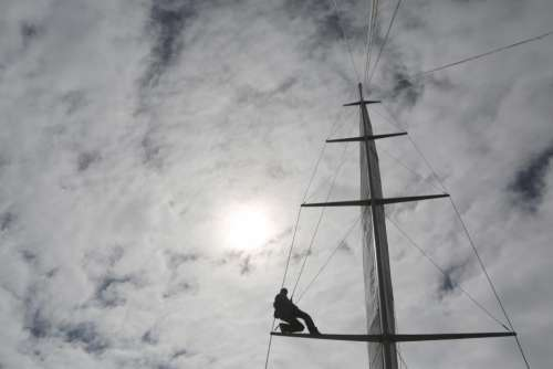 mast sailboat sailing clouds cloudy