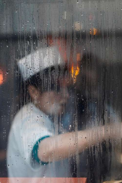 window glass moist wet water