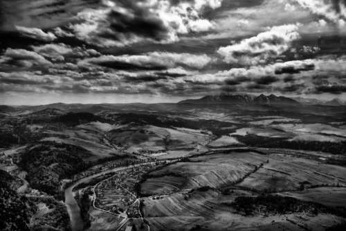 aerial clouds sky black and white landscape