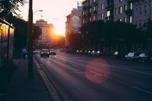 city sunrise morning street sun