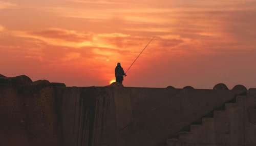 people man alone horizon sunset